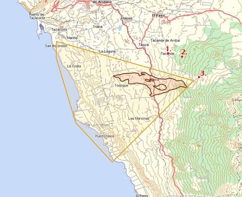 Det avstengte området rundt vulkanen og lavastrømmene markert i gult